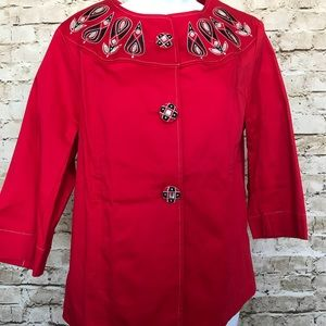 NWT Bob Mackie Sz S Red Embellished Jacket